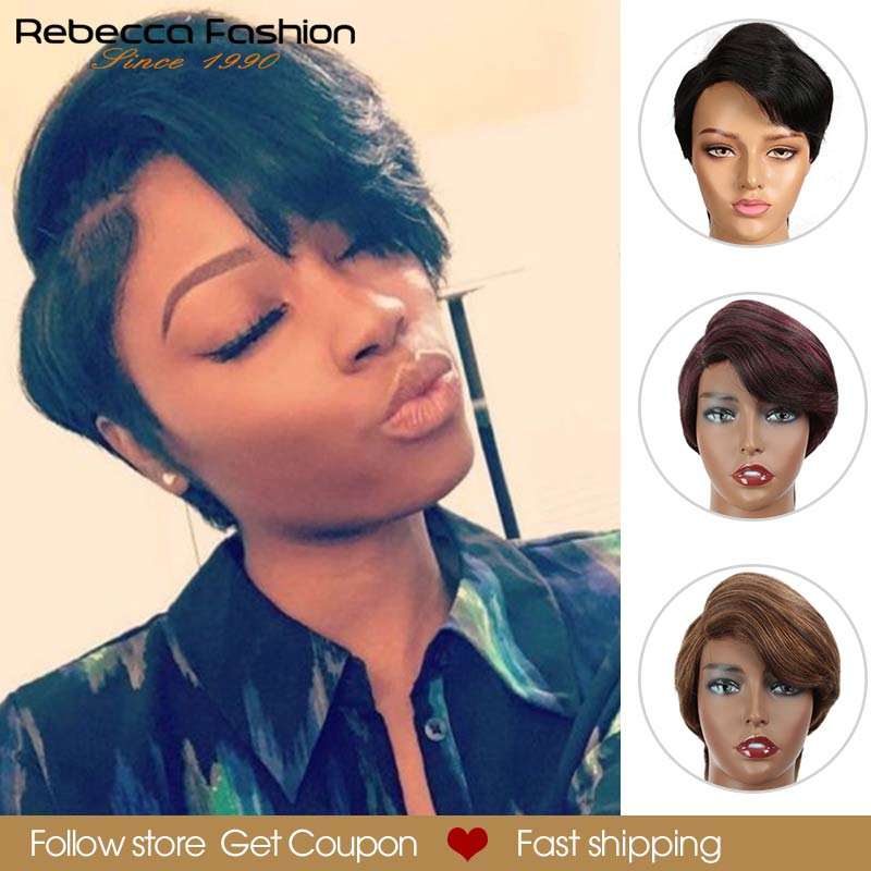 Rebecca Pixie Short Wigs Lace Part Wig Human Hair Wigs For Black Women Peruvian Remy Straight Hair Ombre Hair Bangs Lace Wig Red