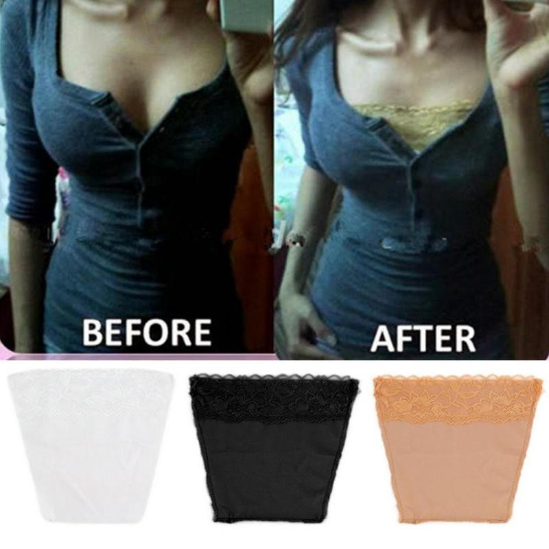 3Pcs Set Anti Peep Invisible Bra Traceless Corset Lace Wrapped Chest Black, White, Skin Color