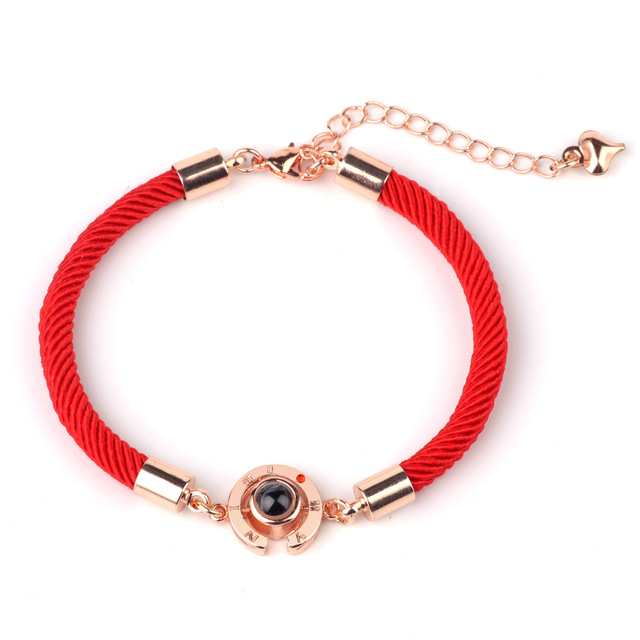 Lucky Red Handmade Rope Bracelet for Women Men Fashion Romantic Lover Couple 100 Language I Love You Projection Bracelet Gifts