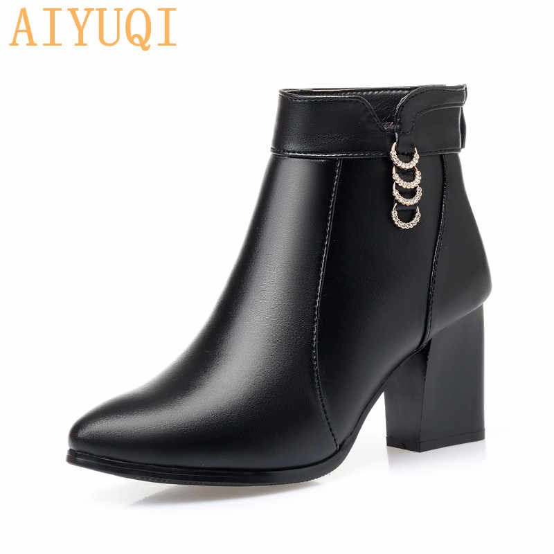 AIYUQI женские ботильоны 2019 Новый натуральной телячьей кожи Модные женские ботинки красного цвета с острым носком; Туфли на высоких каблуках со стразами; зимняя Свадебный ботинок