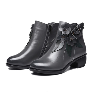 Image 3 - 2020 botas de inverno botas femininas vintage couro genuíno sapatos de salto baixo sapatos de dedo do pé redondo moda senhoras tornozelo botas para mulher