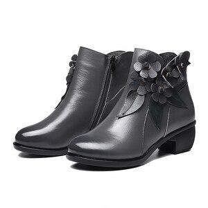 Image 3 - 2020 חורף נעלי נשים מגפי וינטג אמיתי עור נמוך נעליים עקב בוהן עגול נעלי אופנה גבירותיי מגפי קרסול נשים