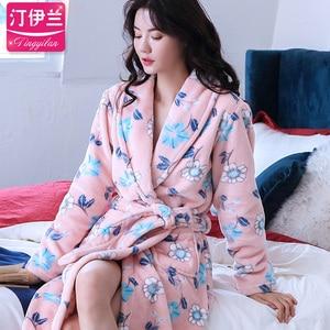 Image 5 - Winter Long Bathrobe Women Belt Flannel Kimono Bath Robe Bridal Wedding Bridesmaid Robes Dressing Gown Peignoir Badjas Housecoat