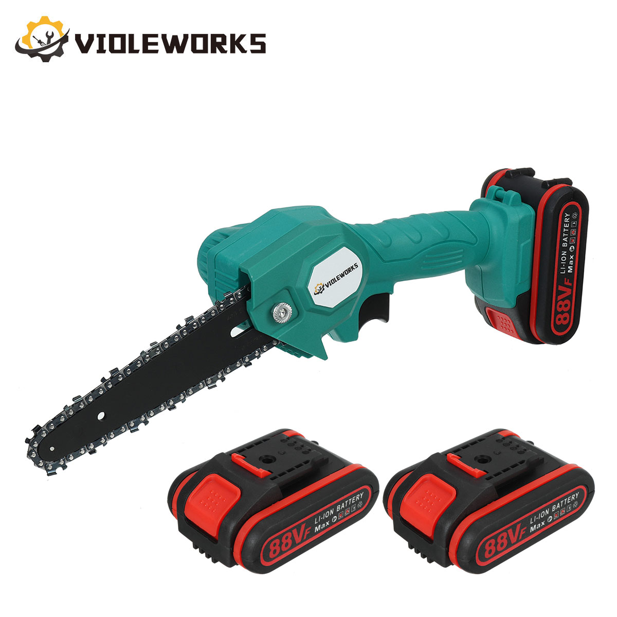 6 Inch 88V 1200W Mini Electric Chain Saw With Rechargeable Battery Woodworking Pruning One-handed Garden Logging Power Tool