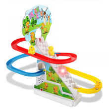 Toy Slide Track Duck Stairs Music Light Toy Climb Stairs Children's Electric Railcar for Birthday Christmas Gifts
