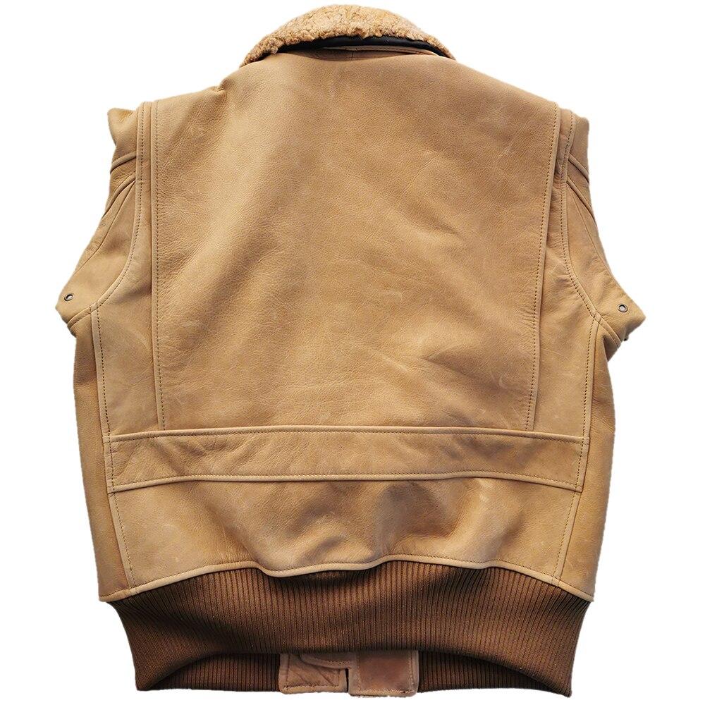 H4abe588793c340ba931ee71ddff650fdZ Men Leather Jacket Thick 100% Calfskin Quilted Natural Fur Collar Vintage Distressed Leather Jacket Men Warm Winter Coat M253