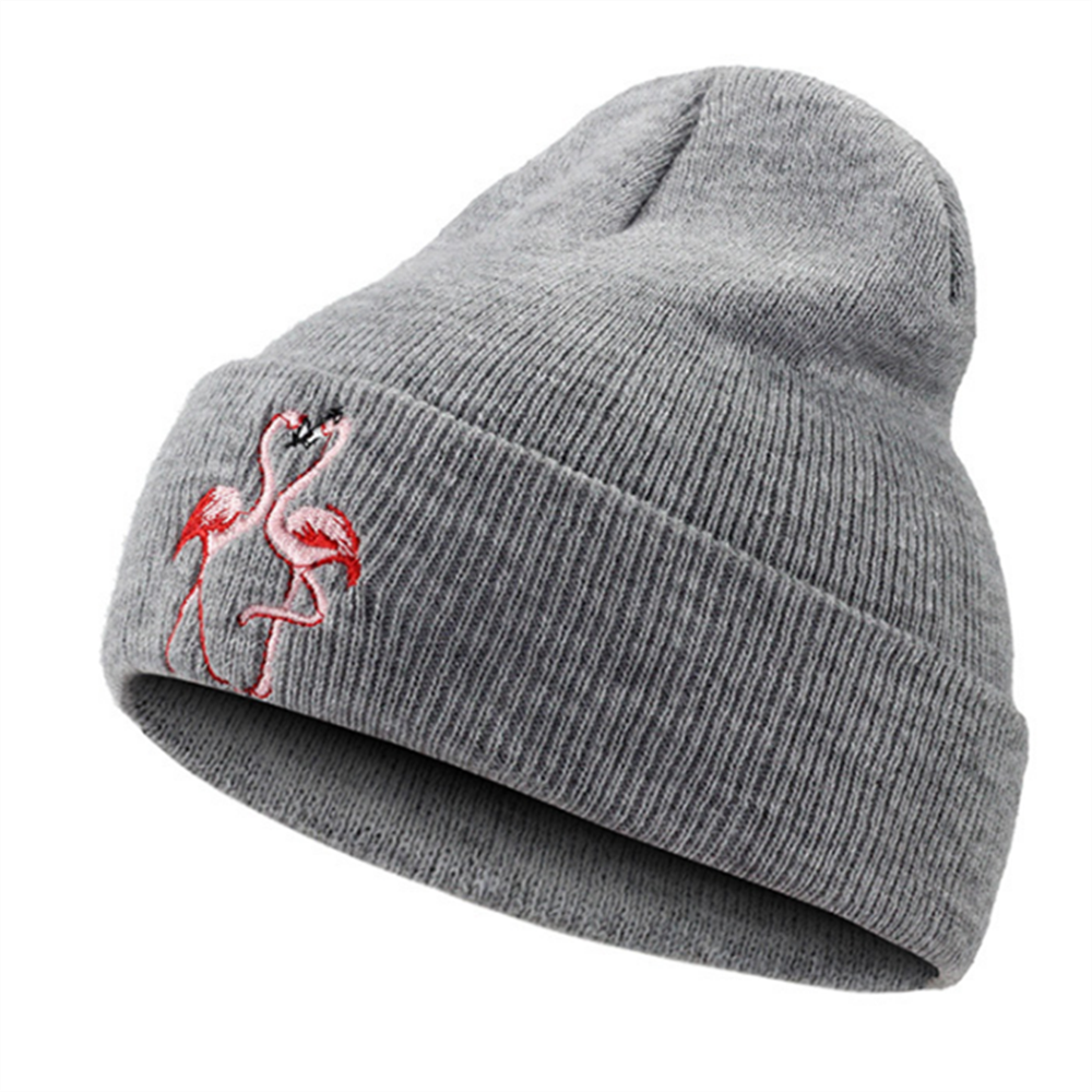 Embroidered Flamingo Pea Bean Hat Ladies Men's Knit Warm Winter Hat Ladies Men's Solid Hip Hop Casual Cuff Pea Hat