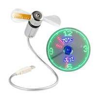 Ventilador USB caliente Mini Visualización de tiempo y temperatura regalo creativo con luz LED fresco Gadget para ordenador portátil