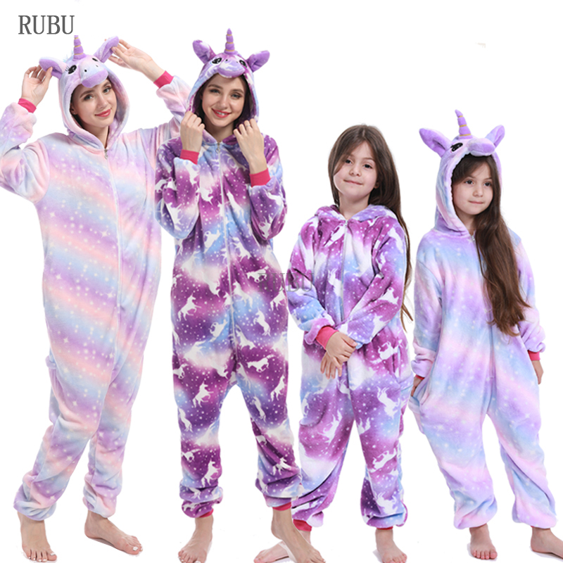 Girls Boys Winter Kigurumi Pajamas Unicorn Cartoon Anime Animal Stitch Onesies Kids Sleepwear Flannel Baby Jumpsuit Women Pajama
