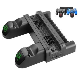 Image 1 - Многофункциональная двойная зарядная станция 3 в 1, док станция с вентилятором охлаждения для PS4/PS4 Slim/PS4 Pro, Прочный вертикальный держатель с подставкой, черный, хит продаж
