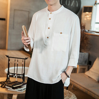 Traditional Chinese Top Mens Pullover Linen Shirts 3/4 Sleeve Summer Mens Casual Shirts Loose Fit Solid Cotton Blouse Shirts 5XL
