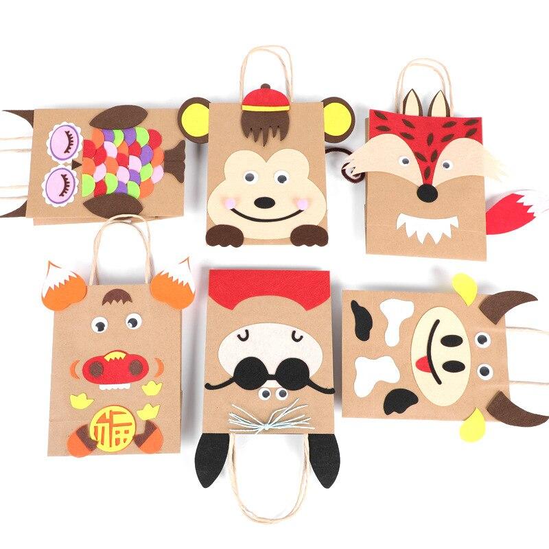 5PCS Cartoon Kraft Paper Bag Manual Material Bag Creative DIY Sticker Toys Lovely Animals Children's Gift Bag