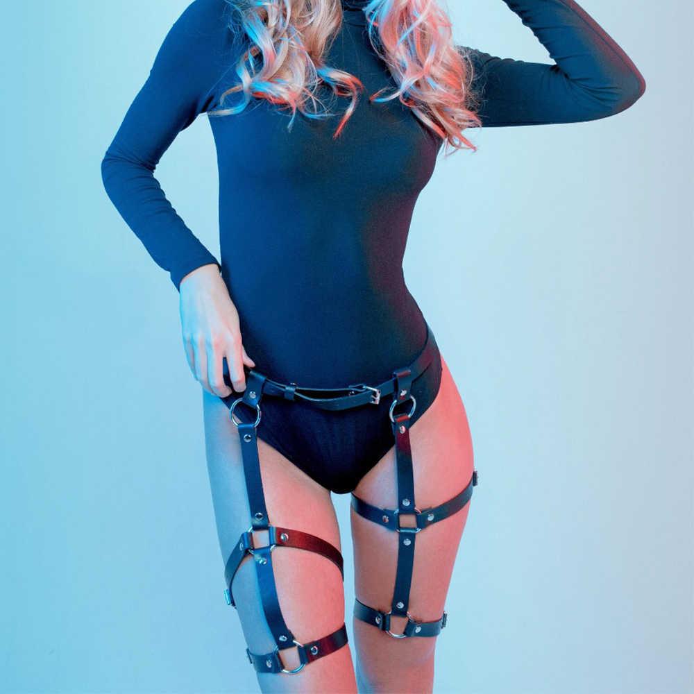 Sexy Leather Harness Garter Belts Women Thigh Straps Leg Garter Waist To Leg Bondage Cage Straps Bra Garter Body Lovely Xun