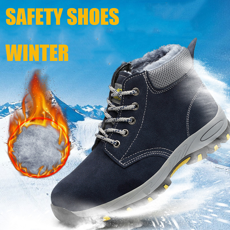 Winter Warm Men's Safety Shoes Outdoor Construction Sneaker High Steel Toe Cap Protective Puncture Proof Work Boots