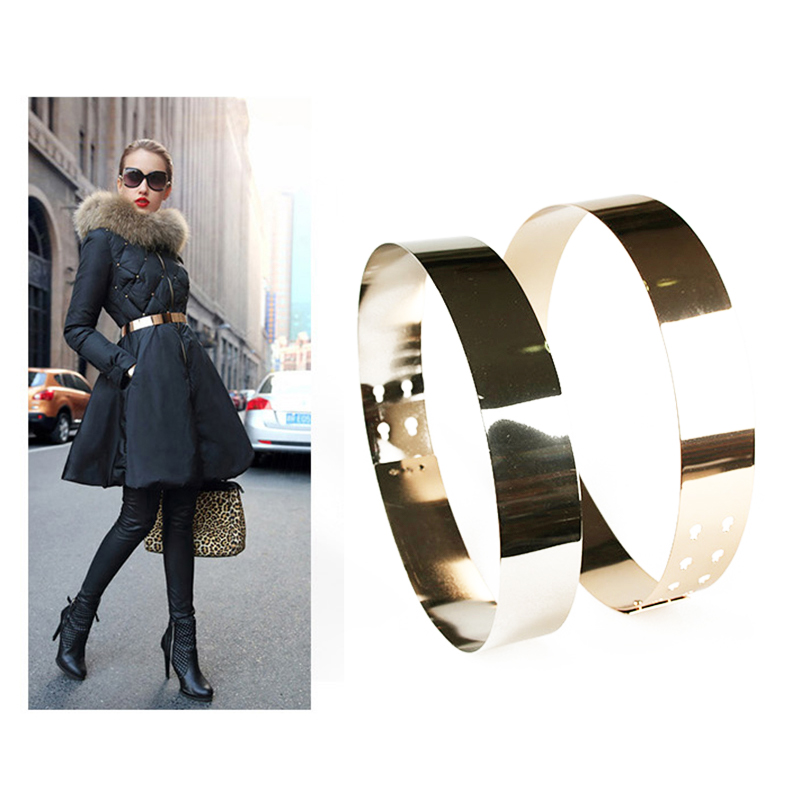 2020 New Style Fashion Women Adjustable Metal Waist Belt Metallic Bling Gold Silver Color Plate Vintage Lady Simple Belts