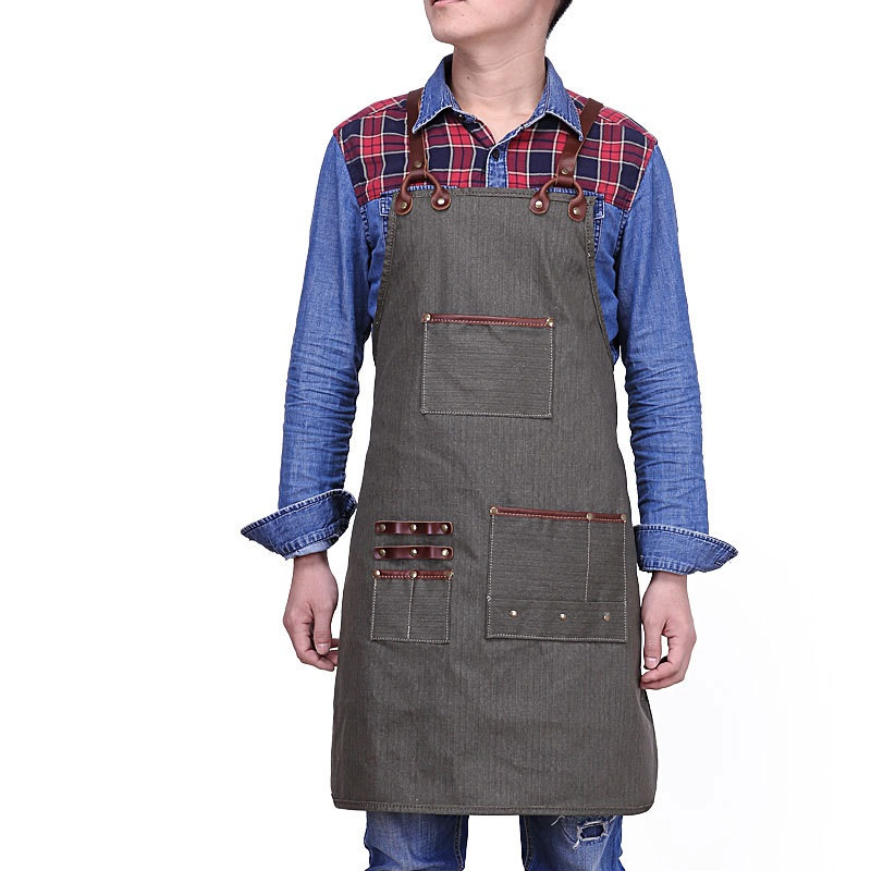 A009 Vintage Multi-Tool Pocket Canvas Work Shop Apron for Artisan Gardener with Cross Back Genuine Leather Strap Small to XXL title=