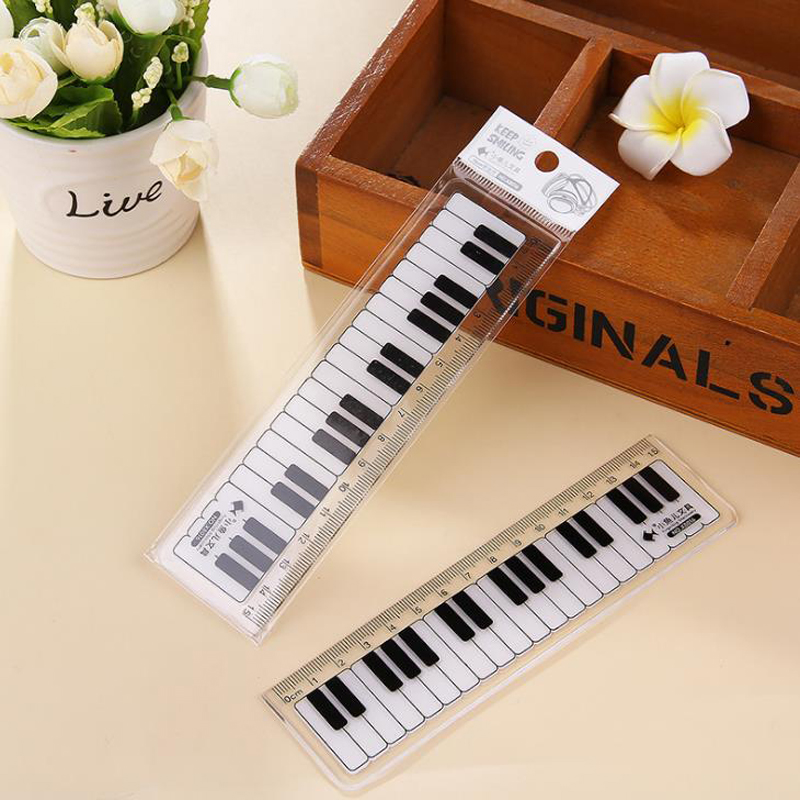 1 Pcs Cute 15cm Black White Musical Notes Piano Transparent Plastic Straight Rulers Drawing Measuring Ruler Student Stationery