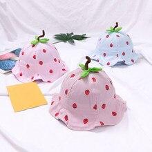 Desenhos animados morango bebê balde chapéu primavera verão crianças boné infantil praia ao ar livre panamá boné para menino meninas da criança chapéu de sol bonnet
