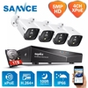 SANNCE H.264+ 4CH 5MP POE Security Camera System Kit 4PCS 5MP HD IP Camera Outdoor Waterproof CCTV Video Surveillance NVR Set