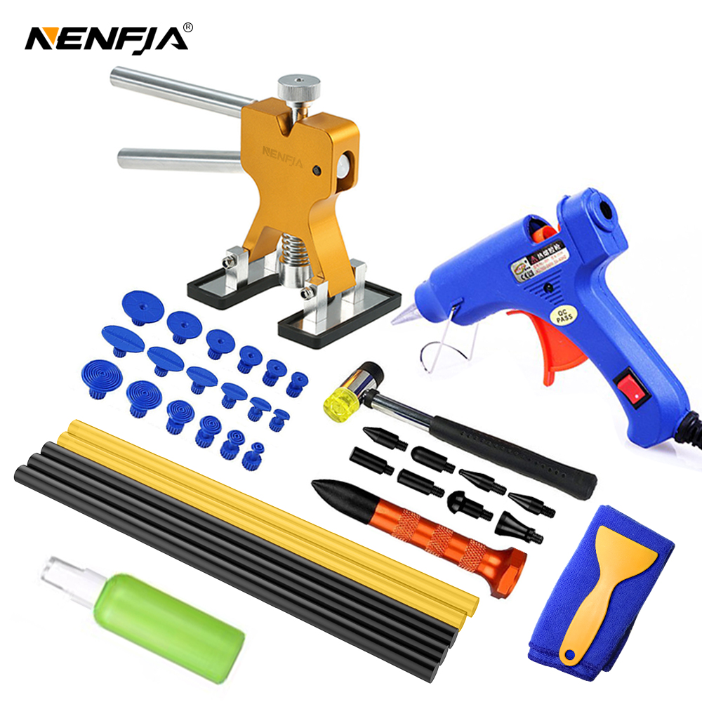Outils de débosselage sans peinture pour voiture, Kit de débosselage avec onglets dextraction de colle, pour véhicule et automobile