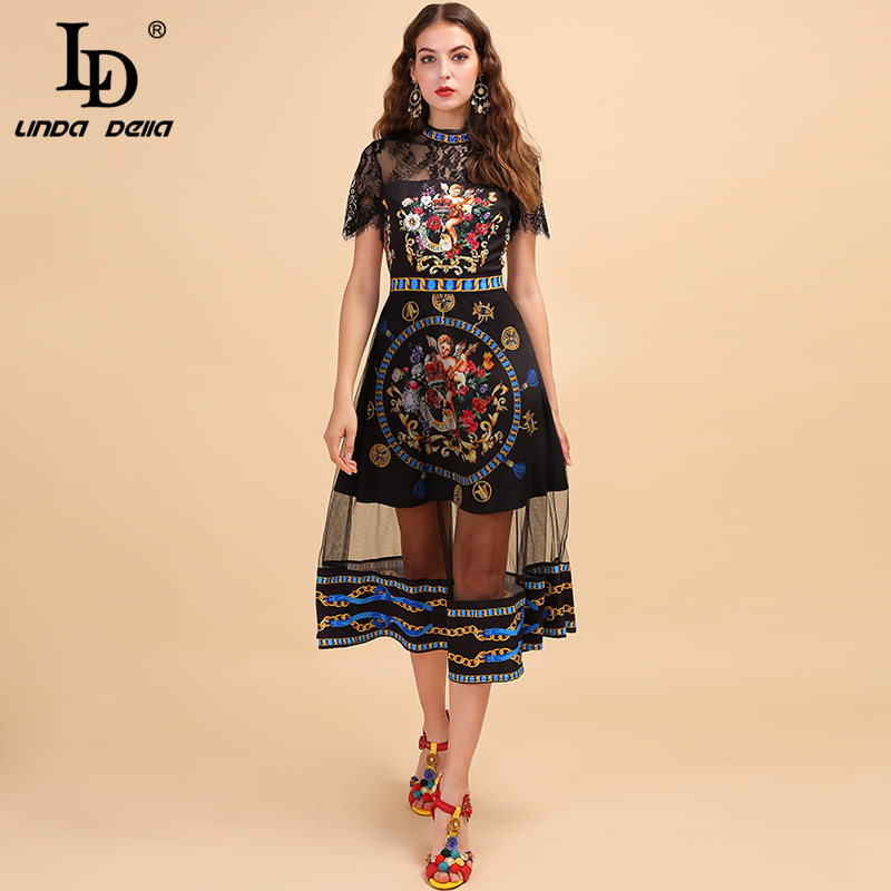 LD LINDA DELLA Lace Embroidery Angel Printed Mesh Dress 2019812