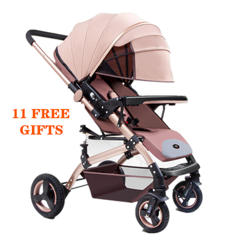 Luxurious Baby Stroller Portable Travel Baby Carriage Folding Pram High Landscape Aluminum Frame Stroller for Newborn Baby