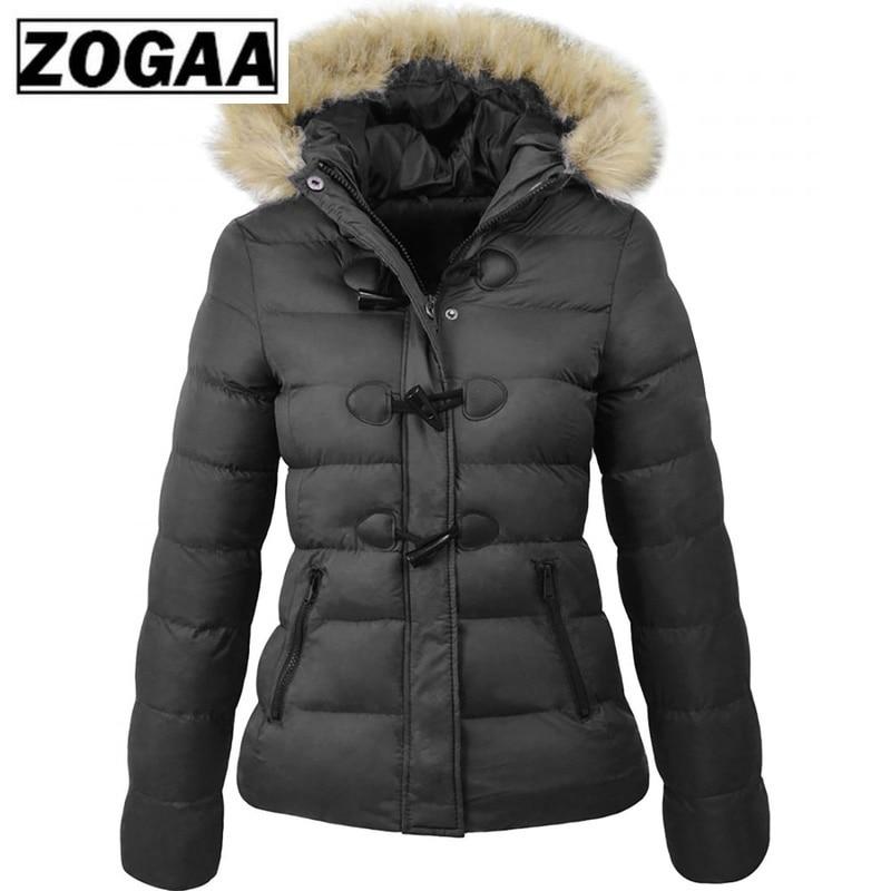ZOGAA Women   Parka   2019 Winter Spring Coat Women Casual Fur Collar Horn Buckle Slim Oversize Female Jacket Overcoat Warm   Parkas