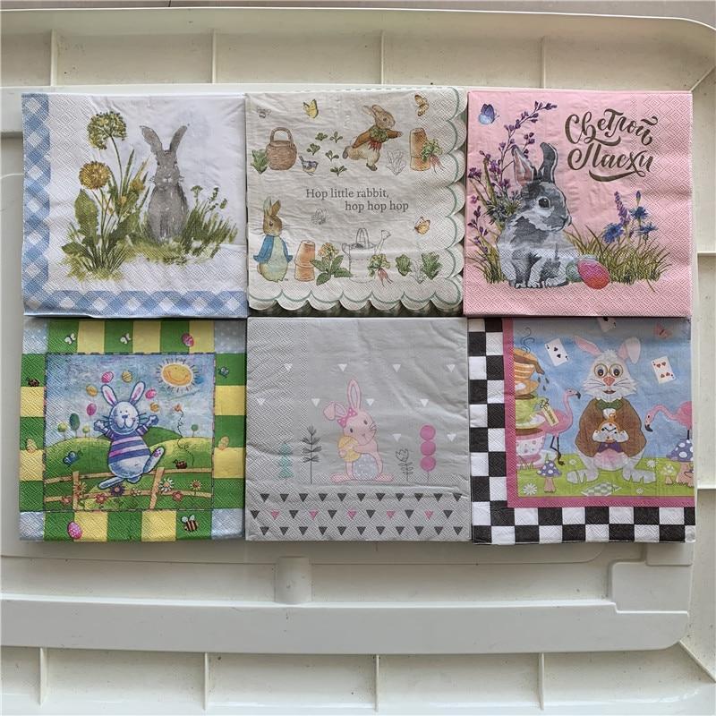Cute Napkins Paper Elegant Tissue Rabbit Flower Arts For Decoupage Wedding Birthday Party Beautiful Decor Handkerchief Towel