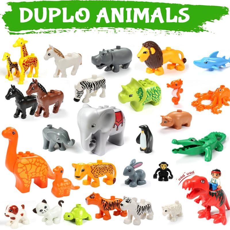 DIY Big Size Model Building Blocks Accessory children Compatible with Duplo Animals Panda Cow Giraffe Horse Bricks Xmas Gift