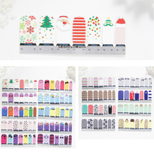 14tips Nail Art Adhesive Sticker Christmas DIY Flower Manicure Snowflake Shiny Sequins Polish Strips Wraps