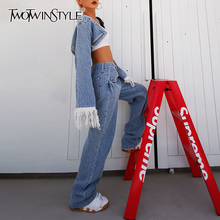 Leg-Pants Two-Piece-Set TWOTWINSTYLE Long-Sleeve Female High-Waist Women Denim Streetwear