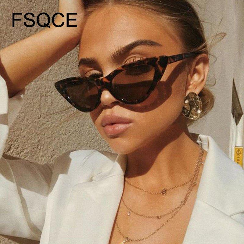 Luxury  Sunglasses Cute Sexy Retro Cat Eye Sunglasses Women Small Black White Triangle Vintage Cheap Lady Sun Glasses Red Femal