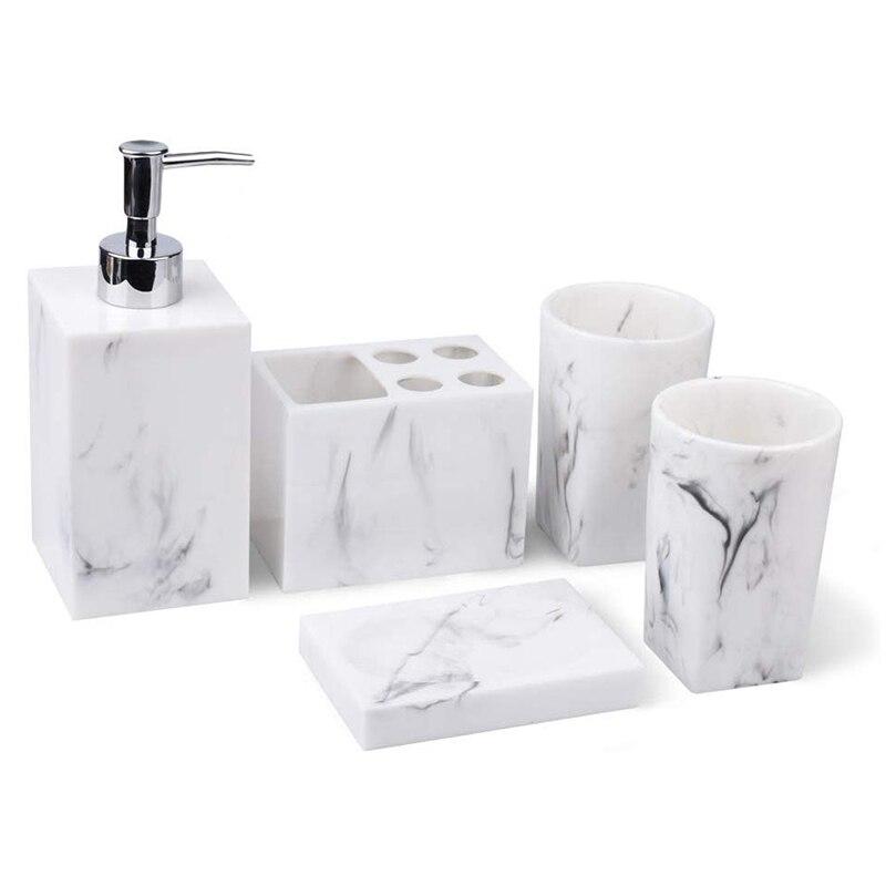 Ensemble d'accessoires de comptoir de salle de bain 5 pièces-distributeur pour savon liquide ou Lotion, porte-savon, porte-brosse à dents et 2 gobelets, M