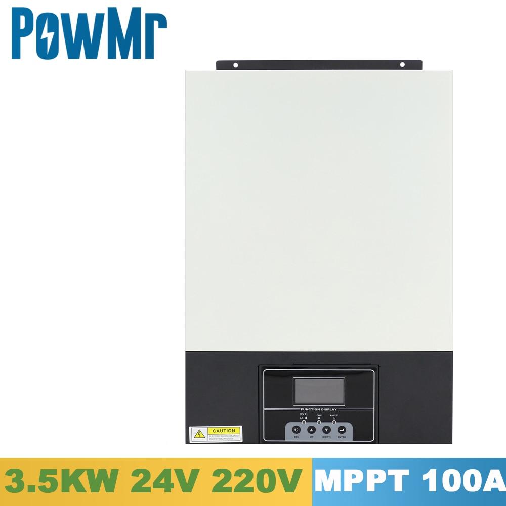 powmr 3500w inversor hibrido solar onda senoidal pura 24v 220vac construir em 100a mppt carregador solar