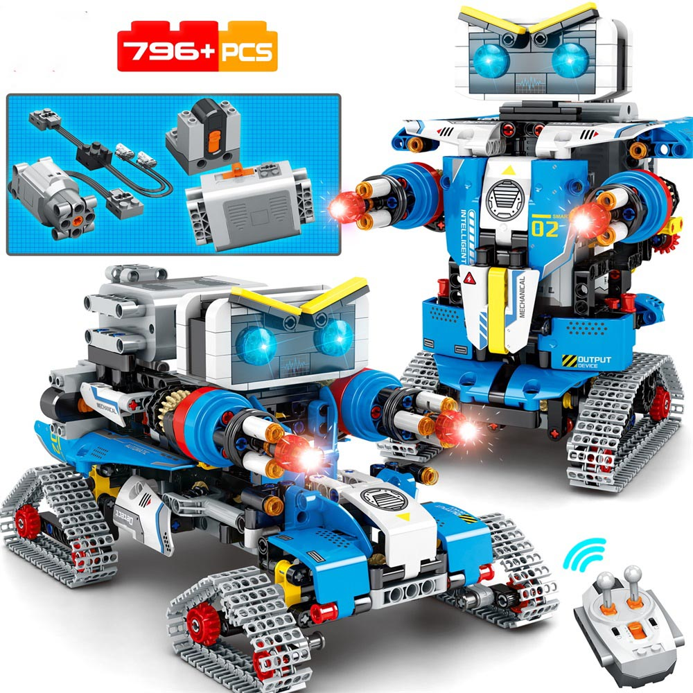 NEW City Electric RC Robot Transformation Vehicle Car Building Blocks Creator Remote Control Robot Weapon Bricks Toys For Child