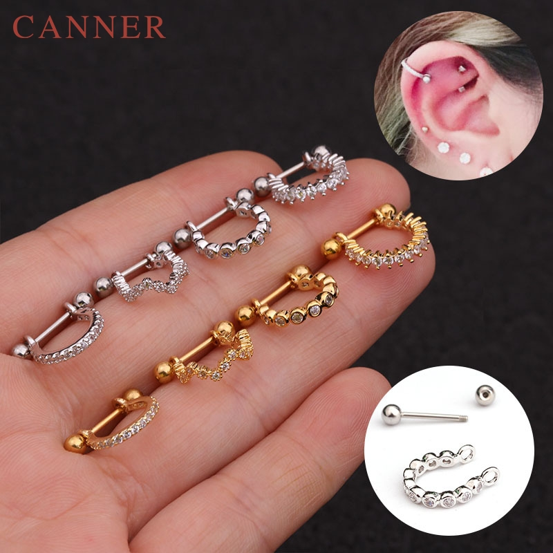 1pc Stainless Steel Earrings Piercer Tragus Cartilage Ring Helix Jewelry 0.8x8mm Titanium Rook Lobe Piercing Body Jewelry