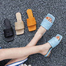 ZawsThia 2020 genuine leather insole brand weave open toe woman casual slippers blue orange women slides flat shoes summer mules(China)