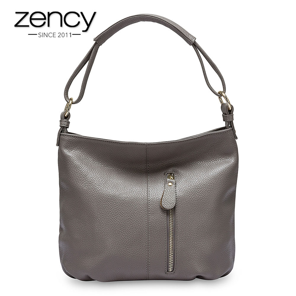 Zency 100% Genuine Leather Handbag Hobos Women Shoulder Bag Fashion Lady Crossbody Messenger Purse Tote Bags Black Grey