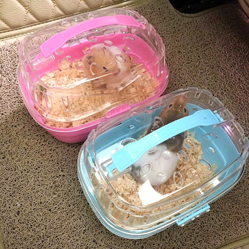 Hamster Cage Transparent Travel Cage Pet Out Cage Accessory Supplies Portable Hamster Cage Go Out To Carry Guinea Pig Cage SP421