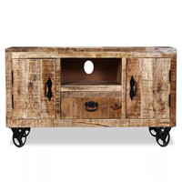 vidaXL industrial style TV Cabinet Rough Mango Wood living room furniture Tv Stand Organizador Chest Of Drawers 120x30x50cm V3