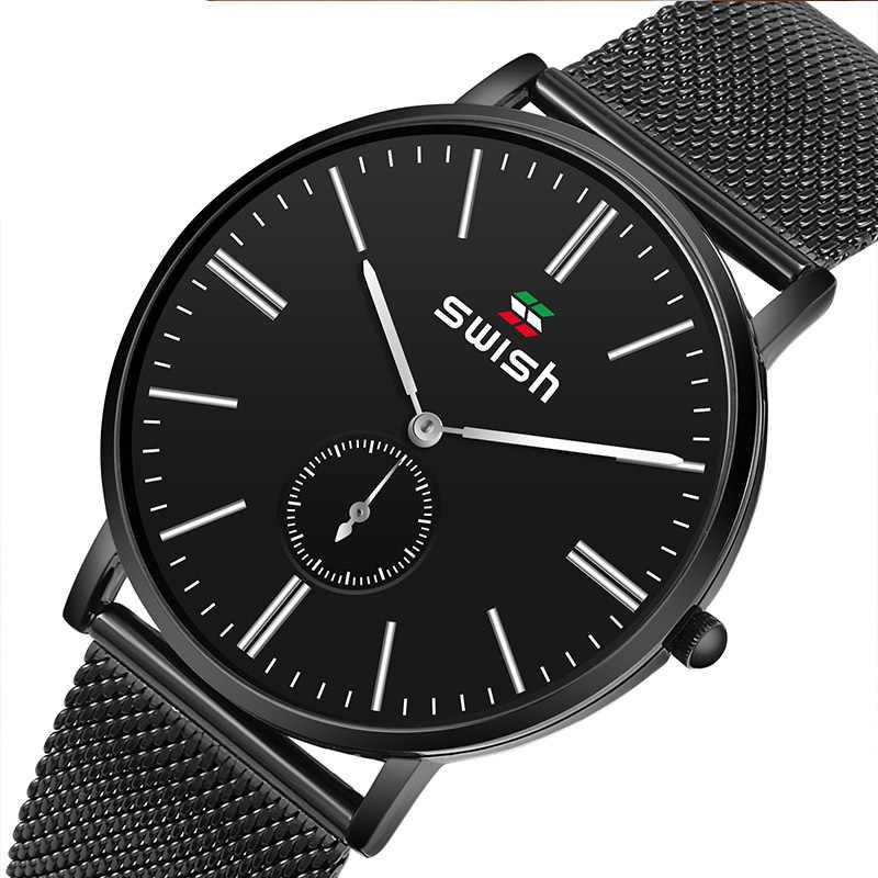 SWISH 2020 ใหม่สีดำสบายๆแฟชั่นเข็มขัดควอตซ์นาฬิกาหรูหรานาฬิกากันน้ำ Relogio Masculino
