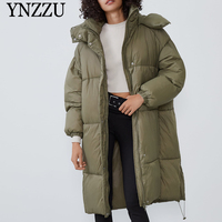Women Winter Hooded Long jacket Casual 2020 New Loose Green Elegant Female Parkas Thick Warm High quality Coat YNZZU 9O147