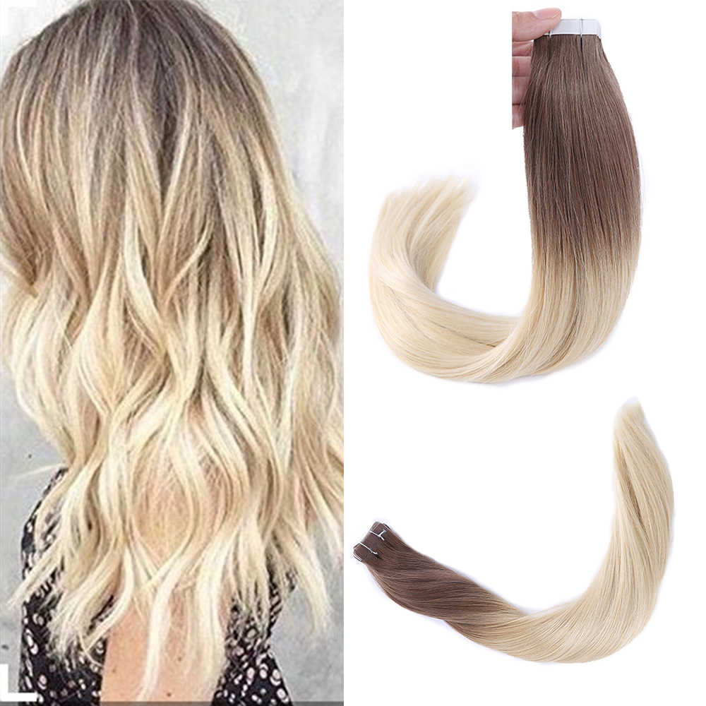 "Sindra 14 ""-24"" Tape In Human Hair Extensions Straight Remy Op Lijm Onzichtbare Pu Inslag Extensions Balayage kleur #6 Te 613b"