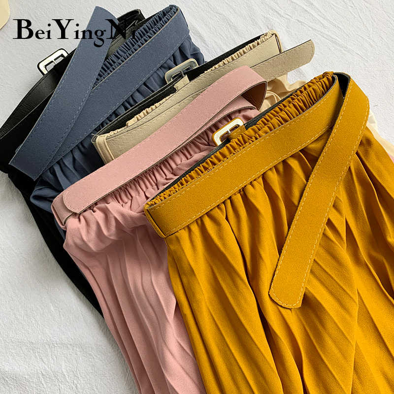 Beiyingni 여성 Pleated 미디 스커트 높은 허리 벨트 한국어 플러스 크기 봄 여름 2020 캐주얼 우아한 스커트 숙녀 패션 Saia