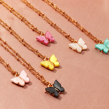 Korean Cute Butterfly Necklace For Women Gold Color Long Chain Pendant Necklace Statement Fashion Charm Jewelry Gifts 2020 New 2019 statement multilayer letter pendant necklace charm gold necklace bread beads chain necklace jewelry for women