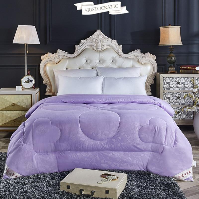Luxury Chinese Silk Quilts Handwork Mulberry Silk Comforters Silk Filled Duvet Silk Blankets Green/Purple/Gray/Pink Comforter