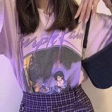 Camiseta gráfica Vintage para mujer, novedad de 2020, manga corta, cuello redondo, púrpura, Chic, estampado, Tops de algodón de verano, camiseta Casual suelta, camiseta para mujer