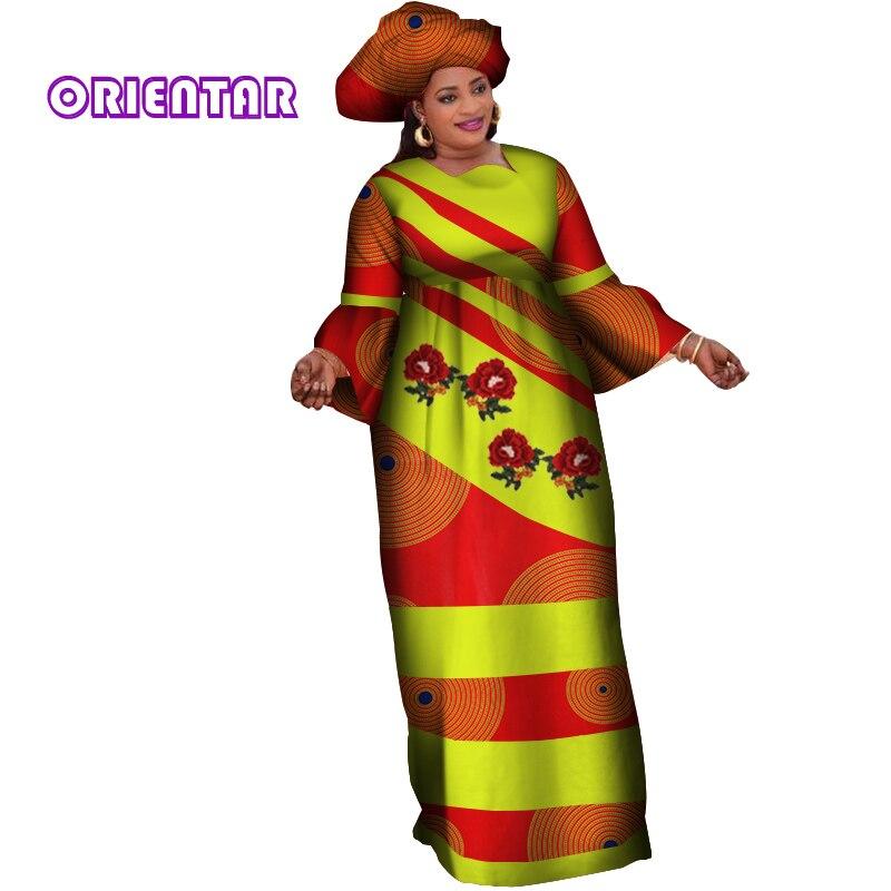 2 Pieces Women African Dress With Headscarf African Long Maxi Dress Autumn Cotton African Print Patchwork Dashiki Dress WY4030