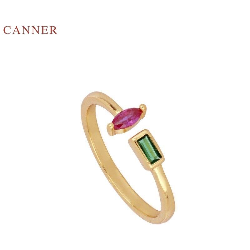 CANNER غير النظامية الملونة الماس الدائري 100% 925 فضة خواتم الذهب Anillos للنساء الفاخرة غرامة مجوهرات خواتم الزفاف