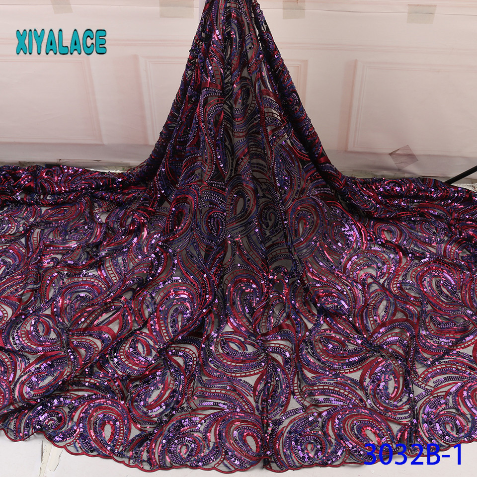 Nigerian Lace Latest Purple African Lace Fabric Sequins For Wedding Dress Voile Lace In Switzerland With Sequins YA3032B-1
